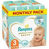 PAMPERS Premium Care vel. 3 Midi (204 ks) - měsíční balení - Dětské pleny