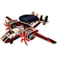 Wooden 3D Puzzle - Military solar plane with a radar colors