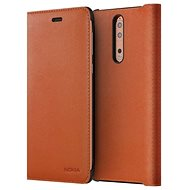 Nokia 8 Leather Flip Cover Tan Brown