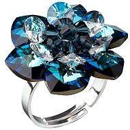 Prsten dekorovaný krystaly Swarovski Bermuda blue 35012.5 (925/1000; 6,6 g) vel. 53-60