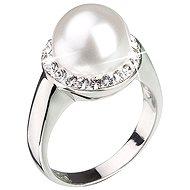 Prsten dekorovaný krystaly Swarovski Bílá perla 35021.1