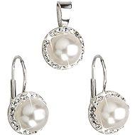 Weiße Perle Satz verziert Swarovski (925/1000; 4,1 g) - Trendy Geschenkset