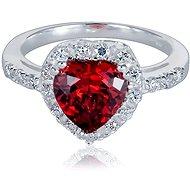 Prsten stříbrný, zirkon srdce (925/1000, 3,8-4,2 g), bílá+červená - Prsten