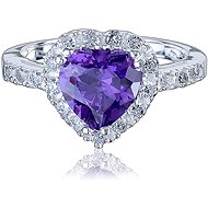 Prsten stříbrný, zirkon srdce (925/1000, 3,8-4,2 g), bílá+fialová - Ring