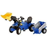 Farmtrac modrý s vlekem a předním nakladačem - Šlapací traktor
