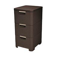 Curver Rattan Style Cabinet 3x14L Dark Brown - Storage Box