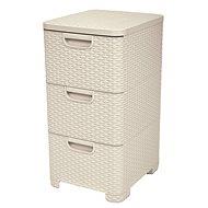 Curver Rattan Style Cabinet 3x14L Cream - Storage Box