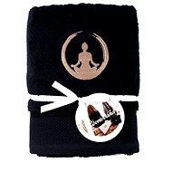Sleep well 50 × 100cm/výšivka jóga - rovnováha/černý - Ručník