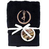 Sleep well 50 × 100cm / yoga embroidery - tree / black - Towel