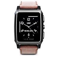 Vector Meridian broušená černá s hnědým koženým řemínkem Small Fit - Chytré hodinky