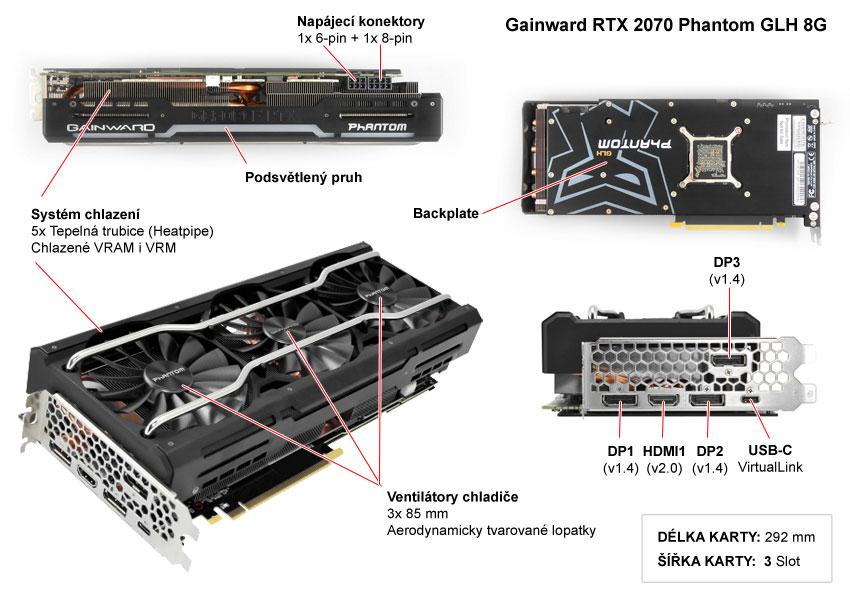 Popis grafické karty Gainward RTX 2070 Phantom GLH 8G