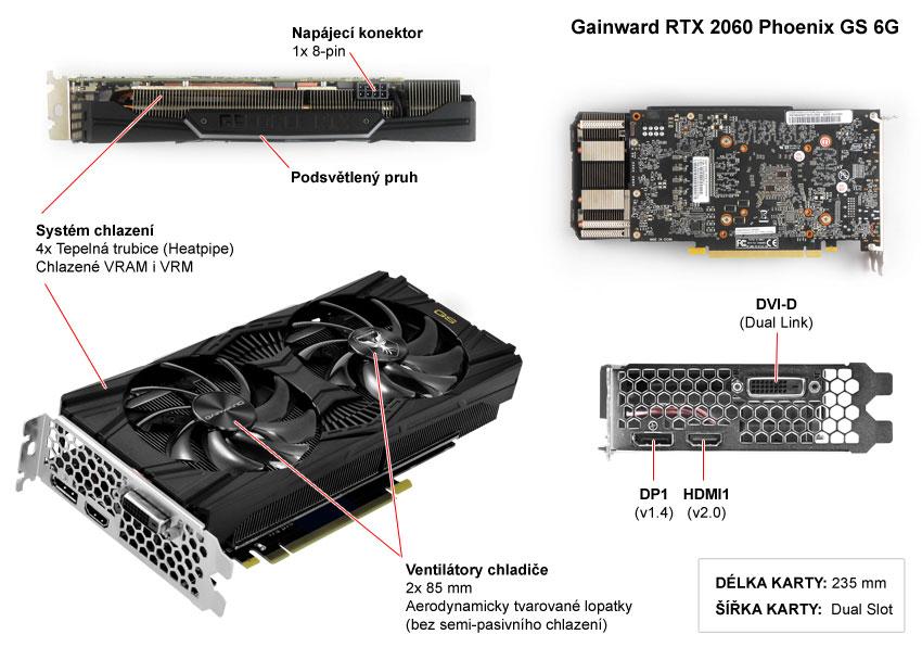 Popis grafické karty Gainward RTX 2060 Phoenix GS 6G