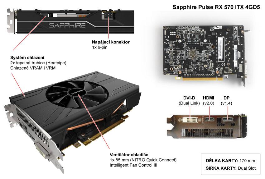 Popis grafické karty Sapphire Pulse RX 570 ITX 4GD5