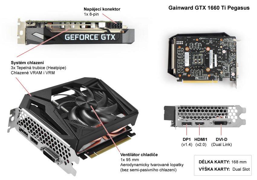 Popis grafické karty Gainward GTX 1660 Ti Pegasus