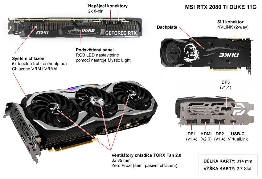 Popis grafické karty MSI RTX 2080 Ti Duke 11G