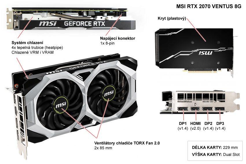 Popis grafické karty MSI RTX 2070 Ventus 8G