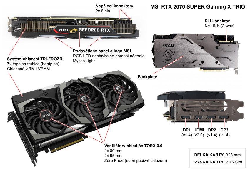 Popis grafické karty MSI RTX 2070 SUPER Gaming X TRIO