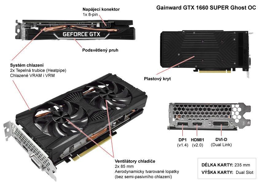 Popis grafické karty Gainward GTX 1660 SUPER Ghost OC