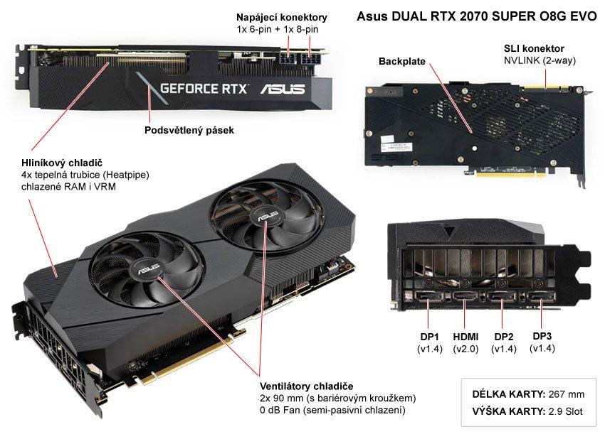 Asus DUAL RTX 2070 SUPER O8G EVO; popis
