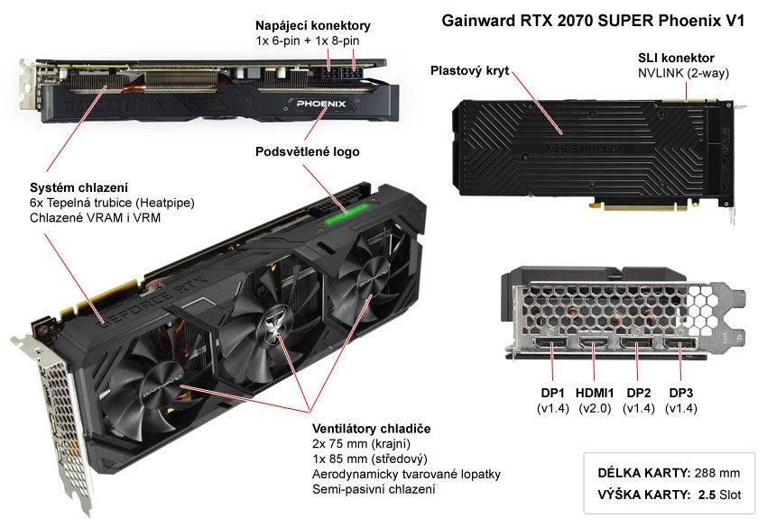 Popis grafické karty Gainward RTX 2070 SUPER Phoenix V1
