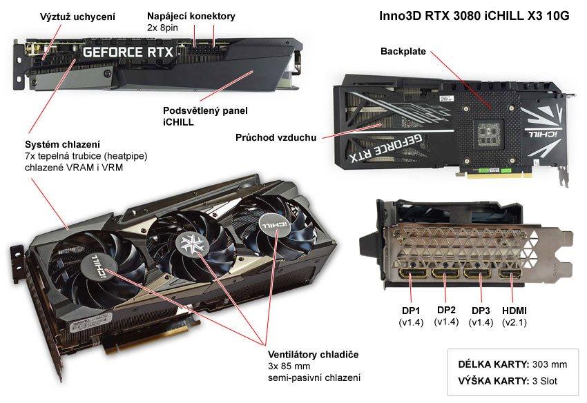 Popis grafické karty Inno3D RTX 3080 iCHILL X3 10G