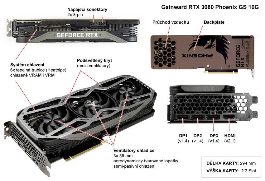 Gainward RTX 3080 Phoenix GS 10G; popis