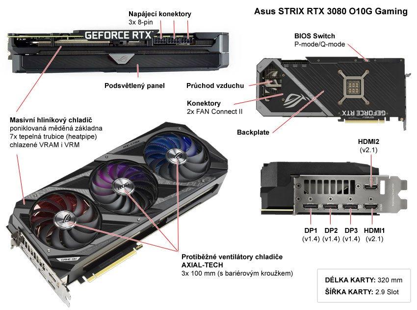 Popis grafické karty Asus STRIX RTX 3080 O10G Gaming
