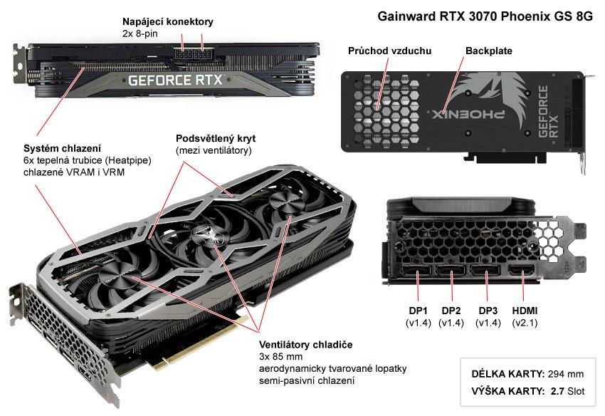 Popis grafické karty Gainward RTX 3070 Phoenix GS 8G