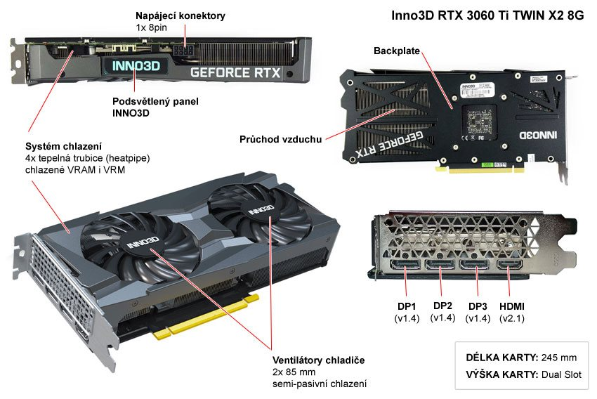 Popis grafické karty Inno3D RTX 3060 Ti TWIN X2 OC 8G