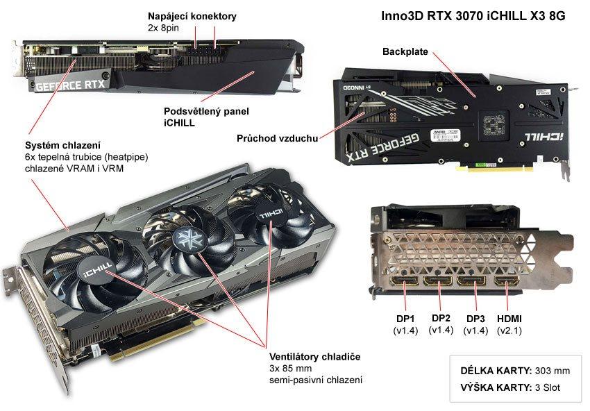 Popis grafické karty Inno3D RTX 3070 iCHILL X3 8G