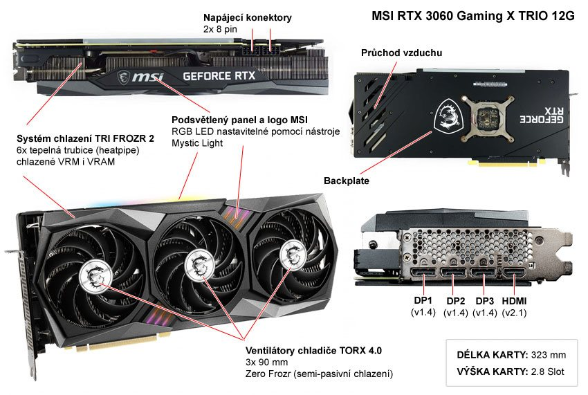 Popis grafické karty MSI RTX 3060 Gaming X TRIO 12G