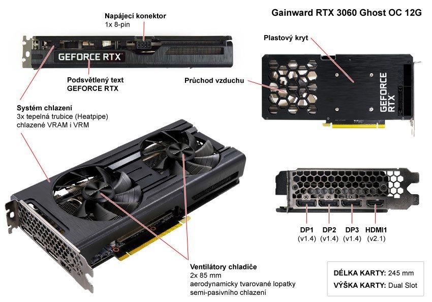 Gainward RTX 3060 Ghost OC 12G; popis