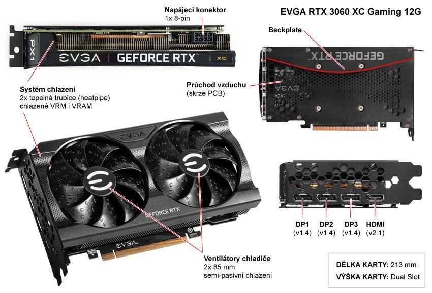 EVGA RTX 3060 XC Gaming 12G; popis