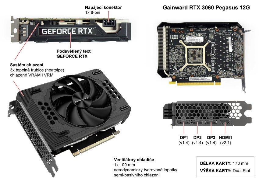 Popis grafické karty Gainward RTX 3060 Pegasus 12G