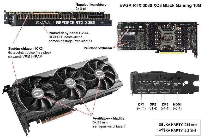 EVGA RTX 3080 XC3 Black Gaming 10G; popis