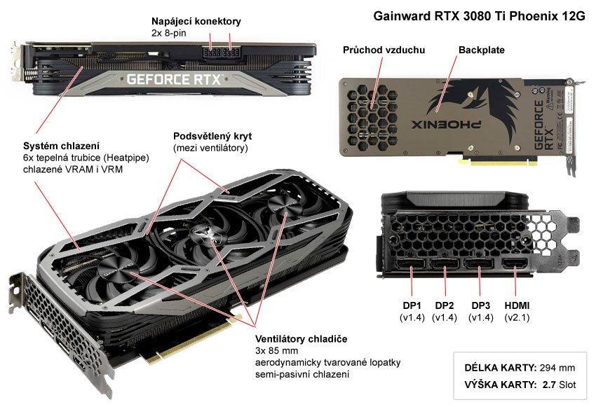 Popis grafické karty Gainward RTX 3080 Ti Phoenix 12G