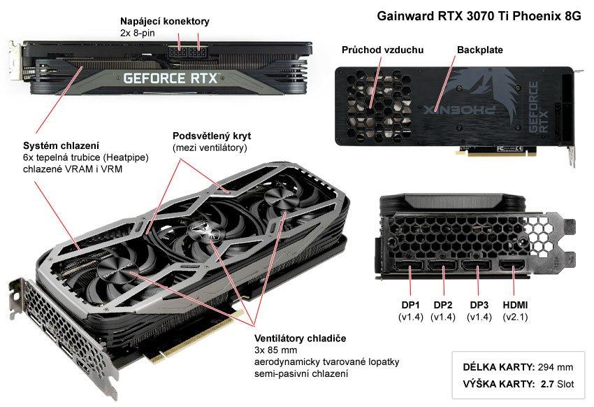 Popis grafické karty Gainward RTX 3070 Ti Phoenix 8G