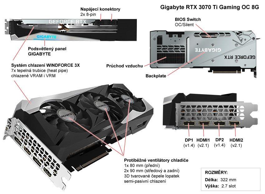 Popis grafické karty Gigabyte RTX 3070 Ti GAMING OC 8G