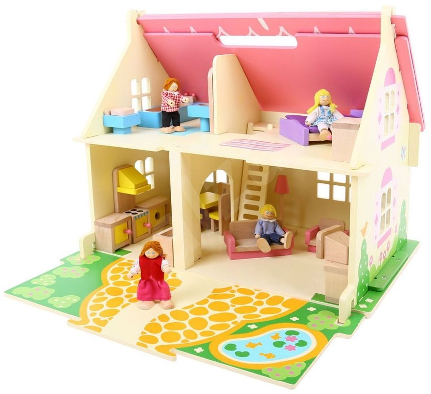 Portable wooden doll house doll accessory for Portable wooden house