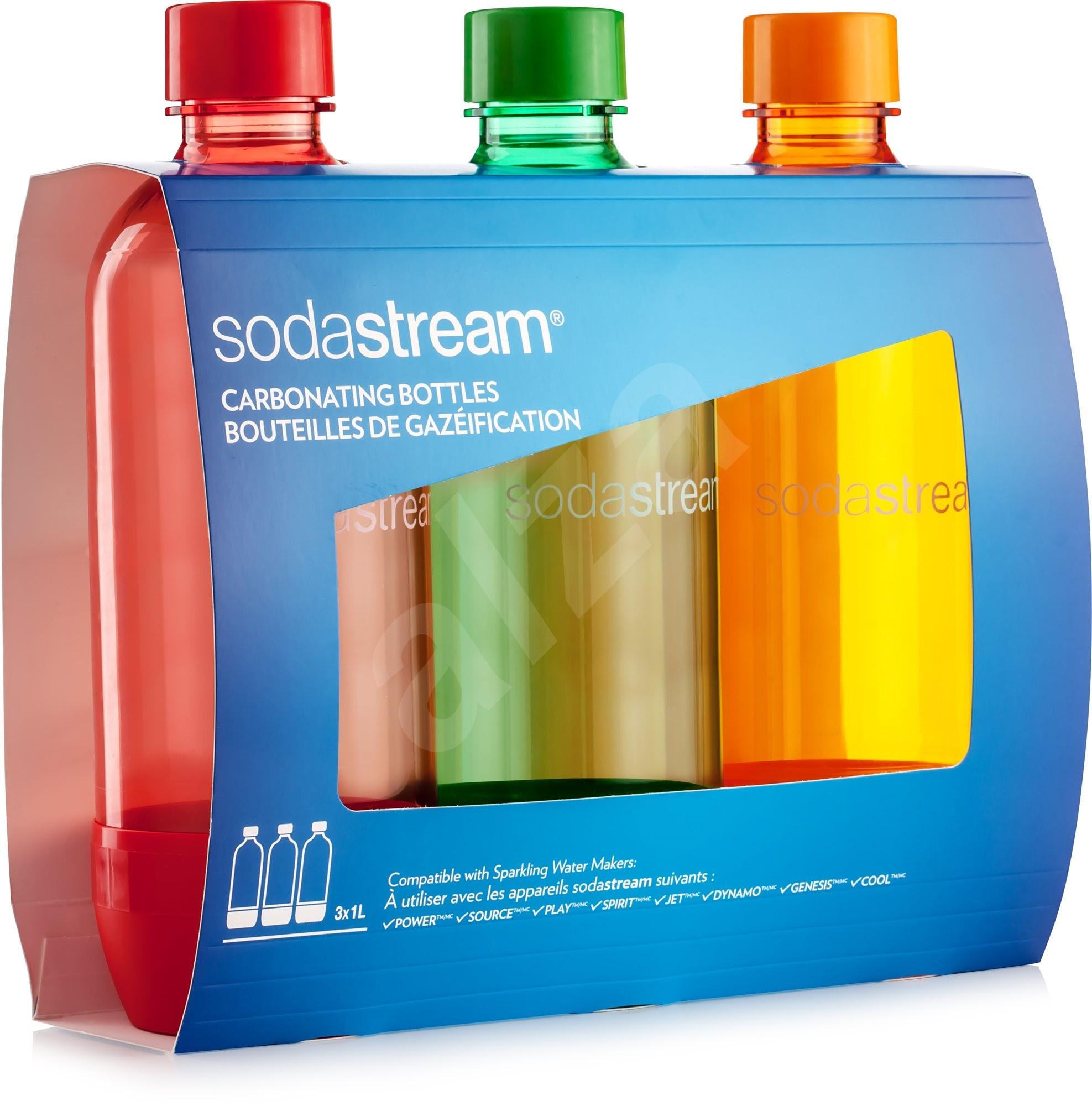 sodastream 1 liter tripack orange red blue replacement bottle. Black Bedroom Furniture Sets. Home Design Ideas