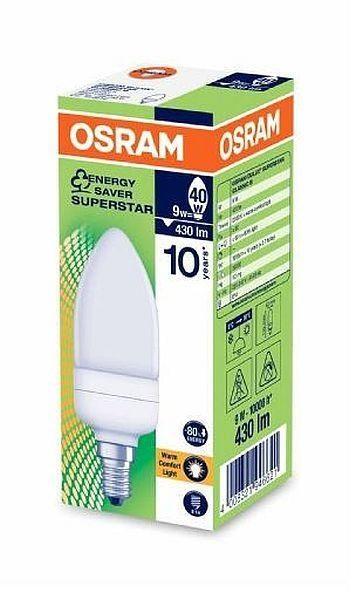 osram dulux superstar 9w e14 fluorescent light. Black Bedroom Furniture Sets. Home Design Ideas