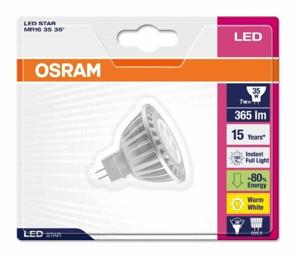 osram star 7w led gu5 3 led bulb. Black Bedroom Furniture Sets. Home Design Ideas