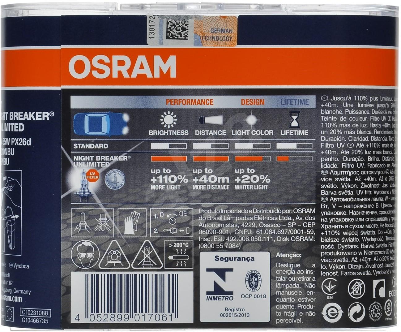 osram night breaker unlimited h7 55w px26d 2pcs light. Black Bedroom Furniture Sets. Home Design Ideas