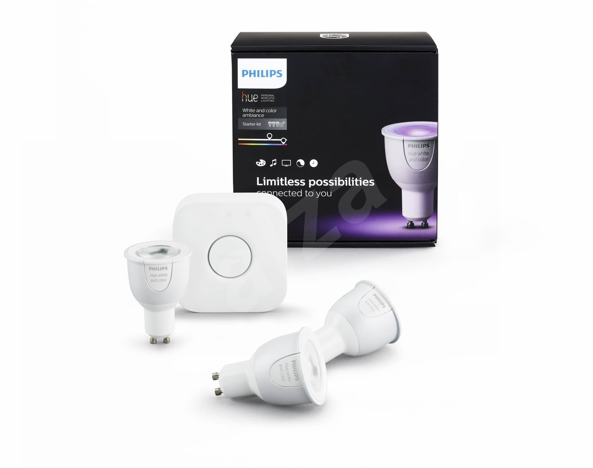 philips hue white and color ambiance gu10 6 5w starter kit led bulb. Black Bedroom Furniture Sets. Home Design Ideas
