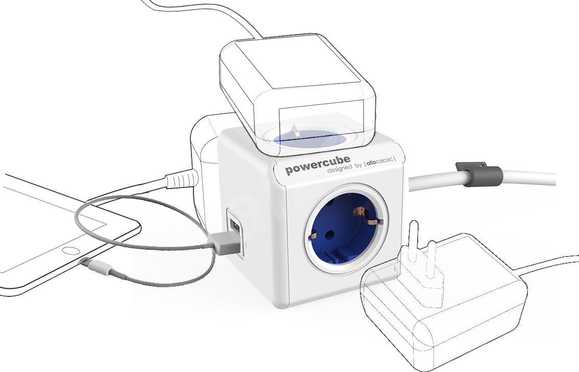 powercube usb blau erweitert schuko zubeh r. Black Bedroom Furniture Sets. Home Design Ideas