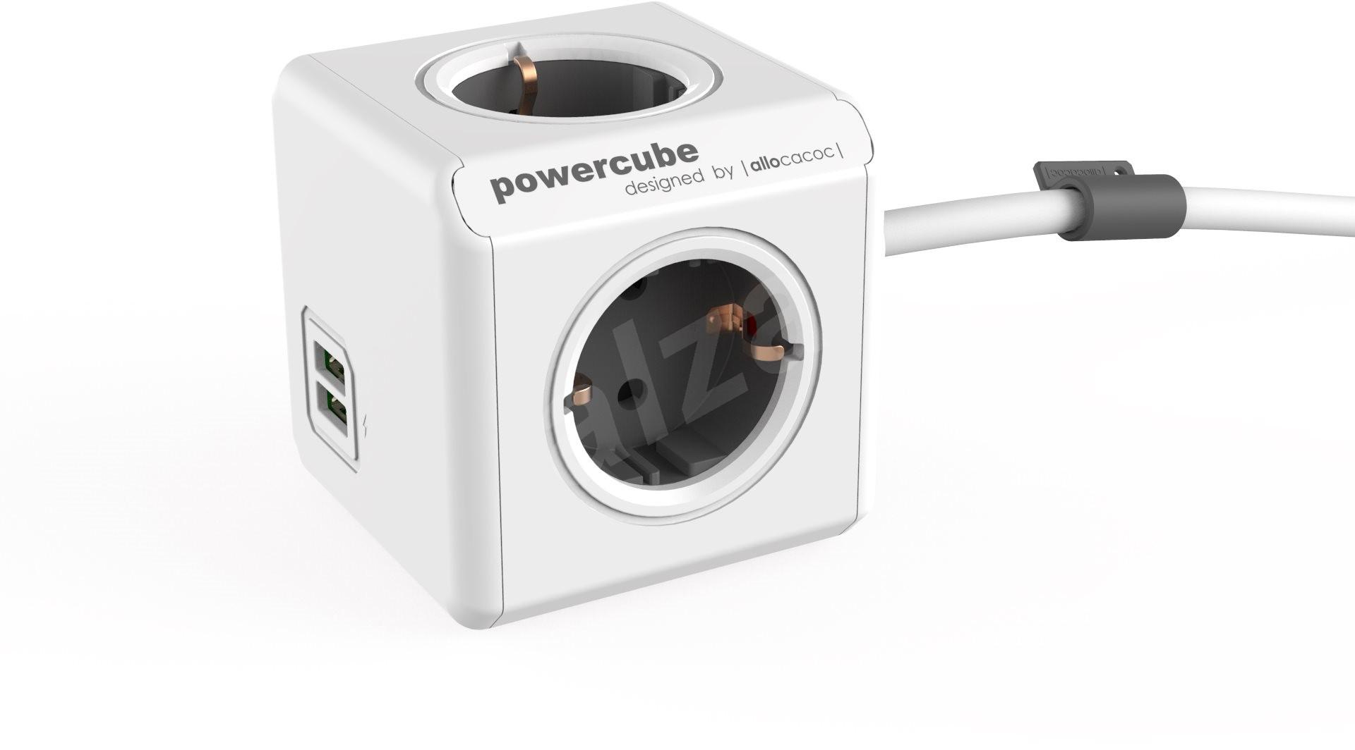 powercube erweiterter usb grau schuko zubeh r. Black Bedroom Furniture Sets. Home Design Ideas