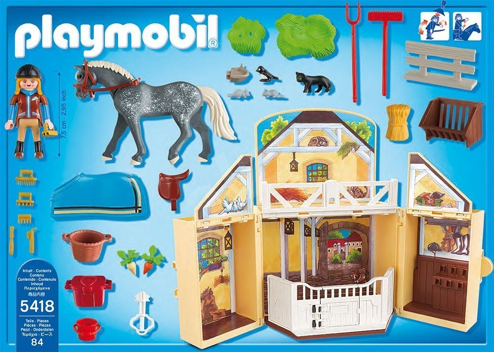 playmobil horse stable carrying case building kit. Black Bedroom Furniture Sets. Home Design Ideas