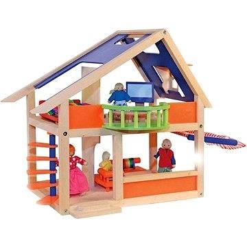 woody puppenhaus mit markise zubeh r f r puppen spielzeug. Black Bedroom Furniture Sets. Home Design Ideas