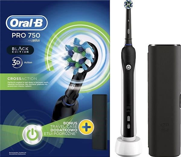 oral b pro 750 black cross action travel case electric toothbrush. Black Bedroom Furniture Sets. Home Design Ideas