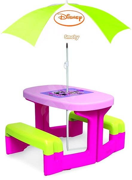 minnie picnic coffee table with parasol toy. Black Bedroom Furniture Sets. Home Design Ideas